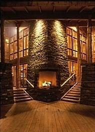 .Stairs bordering either side . . . maybe Stone Fireplace Pictures, Stone Fireplace Designs, Stone Fireplaces, Cozy Fireplace, Fireplace Ideas, Indoor Outdoor Fireplaces, Light My Fire, Cabin Design, Architecture Art