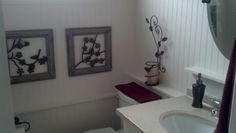 Small red bathroom, birds of a feather flock together, white beadboard to 63""