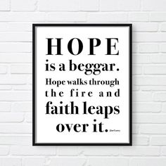 Hope Is A Beggar Print, Motivational Poster, Jim Carrey Quote, Office Decor,