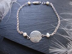 'Tree of Life' Bracelet in Sterling Silver with Freshwater Pearls x   #agnesdrjewellery