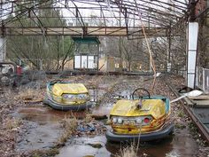 Prypiat, Ukraine: The bumper car ride in the abandoned city of Prypiat, evacuated after the 1986 Chernobyl power plant explosion.