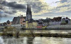 Germany, river, Regensburg, autumn, Bavaria, HDR