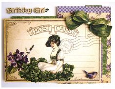 """This March Place in Time """"Birthday Girl"""" card tutorial comes with a printable project sheet! #graphic45 #tutorials"""