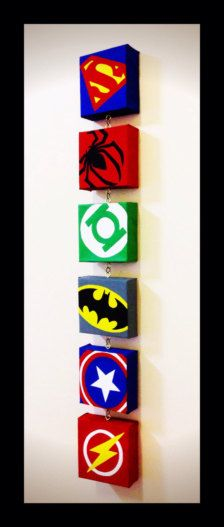 Superman, Spiderman, Green Lantern, Batman, Captain America, Flash! How cool would these look in your little superheroes bedroom! Each canvas measures 3 x 3 inches. Total length is 20 inches. Can also do other superheroes and in any order. Contact me for custom orders.
