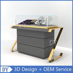 Jewelry Showcases Counter , Advertising in Jewelry Shop. Jewelry Showcases Counter on display in the jeweler's sellers. Jewellery Shop Design, Jewellery Showroom, Jewelry Shop, Custom Jewelry, Jewelry Stores, Mom Jewelry, Display Case, Display Shelves, Glass Showcase