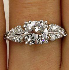 Reserved...Art Deco 1.37ctw Old EUROPEAN Cut Diamond Engagement Vintage Platinum Ring EGL USA , Circa 1920