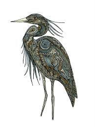 native american art blue heron - Google Search