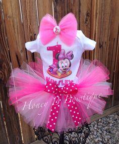 Pink Baby Minnie First Birthday Tutu Outfit Set by HoneyBBowtique1, $37.99