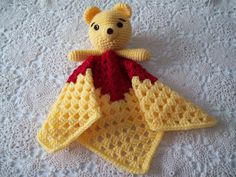 Crocheted WINNIE the POOH Inspired Security Blanket Snuggle Blankie Red Yellow Sleep Toy Teddy Bear