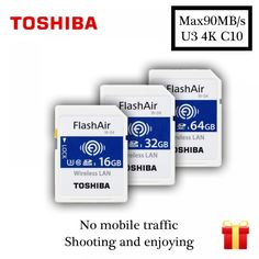 TOSHIBA Wifi Memory Card 16GB 32GB 64GB 90M/s SD Card SDHC SDXC Class 10 U3 Tarjeta sd FlashAir W-04 carte sd For Digital Camera  Price: 843.56 & FREE Shipping #computers #shopping #electronics #home #garden #LED #mobiles #rc #security #toys #bargain #coolstuff |#headphones #bluetooth #gifts #xmas #happybirthday #fun Electronics Gadgets, Tech Gadgets, Digital Camera Prices, Moving Photos, Wireless Lan, Data Transmission, Card Reader, Sd Card, How To Take Photos