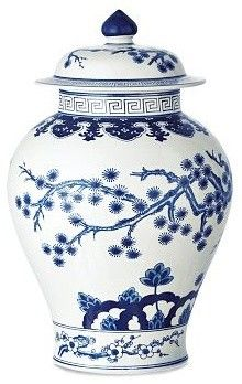 Blue & White Swallowtail Temple Ginger Jar asian vases