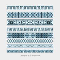 Border Pattern, Pattern Art, Greece Party, Greek Font, Postage Stamp Design, Greece Map, Greek Pattern, Patterned Sheets, Geometric Lines