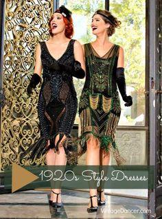 1920s style dresses, flapper dresses, day dresses at VintageDancer.com