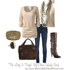 "Everyday dressy casual - ""The Lady Is Tough"" Soft Chain Infinity Scarf"