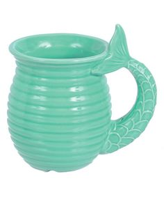 Look at this #zulilyfind! Teal Ceramic Mermaid Tail Mug #zulilyfinds