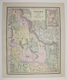 Antique Idaho Map Vintage Washington Map Old Territory 1888 State County Travel Map Christmas Gift Under 20 Gifts For Home Cyber Monday