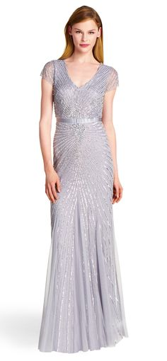 Adrianna Papell silver gown.  Frock Swop. Share. Wear. Repeat.