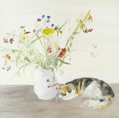 Elizabeth Blackadder Cat and Flowers 1977