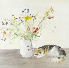 """stilllifequickheart: """" Elizabeth Blackadder Cat and Flowers 1977 """""""