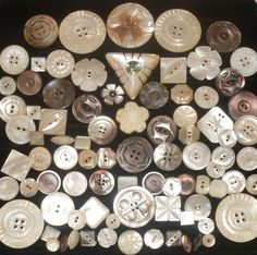 GREAT LOT 85 VINTAGE & ANTIQUE CARVED MOP MOTHER OF PEARL BUTTONS | eBay