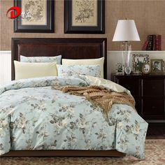 Luxury Satin Bed Linen Egyptian Cotton Bedding Set King Queen Size High Quality White Floral Bed Set Blue Duvet Cover Set Z25