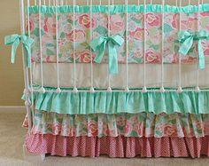 Mint Mosaic Rose Crib Bedding Set