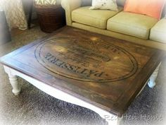 I love this Coffee Table.  This was made from a regular old Coffee Table, and overhead projector and a really good graphic.