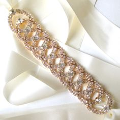 Luxurious Gold Wedding Dress Sash Rhinestone by GetNoticed on Etsy, $46.00