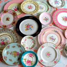 Save your vintage mismatched dishes & set your table shabby chic style. Don't have any old dishes ~ easy find at your local flea market or thrift stores. Don't be afraid to experiment. Lovely!
