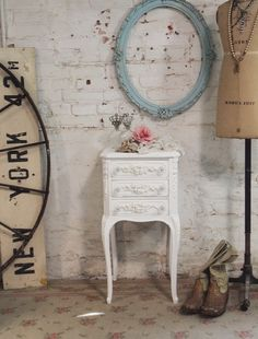 Painted Cottage Chic Shabby White Romantic French Night Table [NT157] - $175.00 : The Painted Cottage, Vintage Painted Furniture