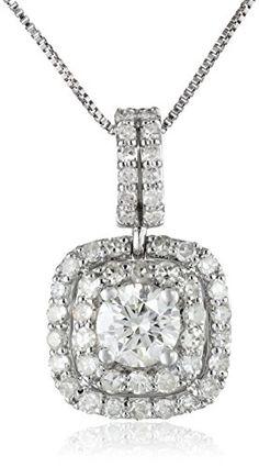 #sale 10k White Gold Diamond (3/4cttw, H-I Color, I1-I2 Clarity) Halo Pendant Necklace, 18″