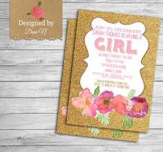 New to DesignedbyDaniN on Etsy: baby shower Invitation pink and gold baby shower floral roses invitation shabby invitation printable elegant invitation (15.00 USD)