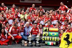 Race winner Fernando Alonso (ESP) Ferrari celebrates with the Ferrari team.  Formula One World Championship, Rd5, Spanish Grand Prix, Race Day, Barcelona, Spain, Sunday, 12 May 2013