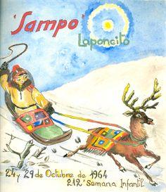 """Cartell il·lustrat per la bibliotecària Natàlia Hernàndez, per informar de l'hora del conte programada pels dies 24 i 29 d'octubre de 1964 en la biblioteca Pare Miquel d'Esplugues. El títol de la narració fou: """"Sampo Laponcito"""""""