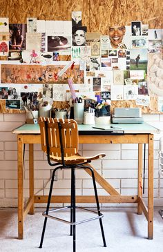plywood inspiration board & desk wall