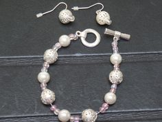 Bracelet, Earring Set (Pink)