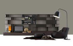 Poliform Skip bookcase - Brown & grey