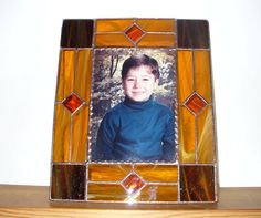 Picture Frame - Amber and Brown Stained Glass - Free Standing Base - For 5 x 7 Print - For Home of Office