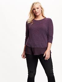 Women's Plus Chiffon-Hem Sweater-Knit Tee