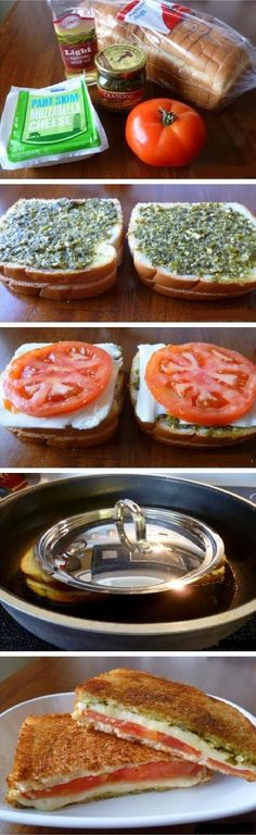 Cheese with Tomato and Pesto Grilled cheese tomato and pesto sandwich.Grilled cheese tomato and pesto sandwich. Think Food, I Love Food, Good Food, Yummy Food, Tasty, Yummy Lunch, Vegetarian Recipes, Cooking Recipes, Healthy Recipes
