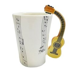 Giftgarden® Cool Porcelain Coffee Mugs Unique Design with Guitar Handle Cool Coffee Cups, Coffee Cup Holder, Coffee Cup Cozy, Ceramic Coffee Cups, Coffee Milk, Cool Mugs, Coffee Cup Tattoo, Coffee Cup Drawing, Guitar Gifts