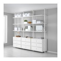 IKEA - ELVARLI, 3 sections, You can always adapt or complete this open storage solution as needed. Maybe the combination we've suggested is perfect for you, or you can easily create your own.Adjustable shelves make it easy to customize the space according to your needs.Drawers with integrated dampers close slowly, silently and softly.You choose if you want to place the open storage solution against a wall or use it as a room divider since the post attaches to the ceiling.