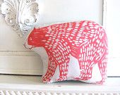 Plush Bear Pillow in Pink. Woodblock Printed. Customizable Colors.