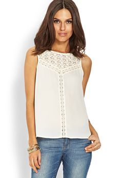 Shop the latest cream lace top styles at Forever Explore the newest trends and essentials designed for any and every occasion! Cream Lace Top, Junior Fashion, Lace Tank, Pretty Outfits, Pretty Clothes, Girly Girl, White Tops, Crochet Lace, Latest Trends