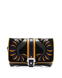Leather clutch bag with detachable shoulder strap in leather and metal chain by @Paula Cademartori