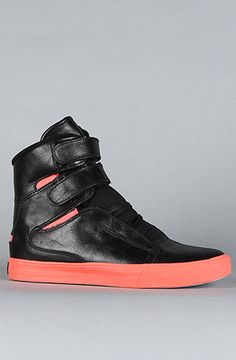 Supra - Society Highs. In Black full Grain Leather and Coral. Enter rep code 'Kingscode' for 20% off at #Karmaloop Check it out!