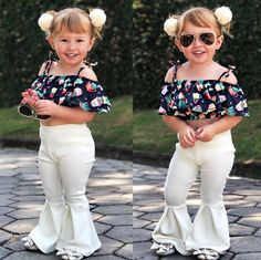 $8.99 - Boutique Toddler Kids Girls Off Shoulder Floral Tops Flares Pants Outfits Set #ebay #Fashion