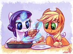 Rarity and Applejack dinner date. I love the chemistry between Rarity and…