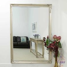 Large Silver Wall Mirror large abbey silver antique style wall mirror 6ft7 x 4ft7 (200cm x