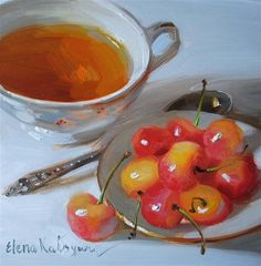 """Tea With Cherries"" - Original Fine Art for Sale - © Elena Katsyura"